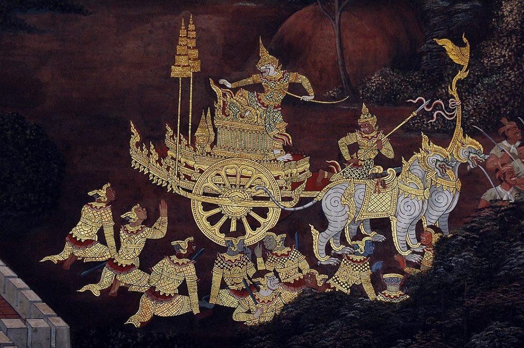 Diwali Hanuman on his chariot, a scene from the Ramakien