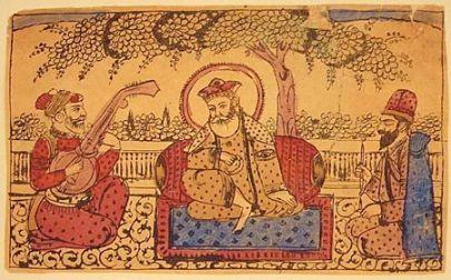 Guru Nanak with Mardana (left) and Bala Coloured woodcut, Amritsar or Lahore, about 1875